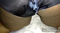 Cum on Juicy Lucys silky black panties 4 min