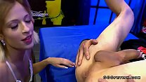 Ria sunn surrounded by a hard cocks gives cumswallow
