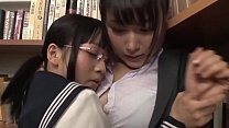 asian lesbian couple get down in library