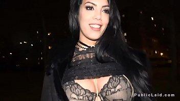 Latina flshing big tits in bra in public