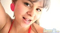 Cute Latina Sammy 18 is Fucking and Sucking her Naughty Boyfriend 14 min