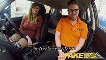 Fake Driving School 34F Boobs Bouncing in driving lesson 8 min