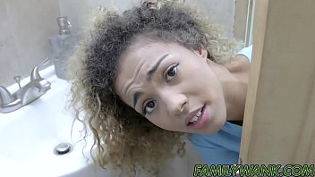 Hung dude plows big ass ebony teen and cums in her mouth 8 min