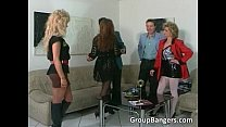 b. threesome with blonde