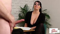 Busty babe instructs guy to tug till cumshot