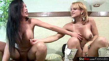 Shegirls with massive boobs jump on big shemeat in foursome