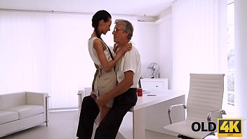 OLD4K. Beautiful brunette successfully seduced her middle-aged boss 7 min