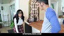 StepSiblings - Nerdy Teen (Monica Asis) Rides Stepbros Cock 8 min