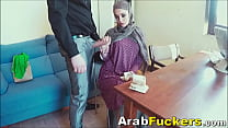 Job Seeking Arabian in Hijab Sucks For Food Money