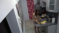Czech cute teen - Naked cooking, voyeur spy cam at home 2 min