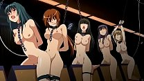 six tied girls on wooden horses