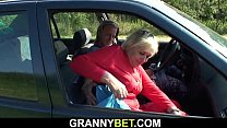 70 years old granny seduced into outdoor sex
