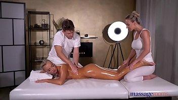 Massage Rooms Oil soaked sensual blonde Czech FFM threesome 8 min