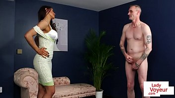Busty British babe undress for JOI session
