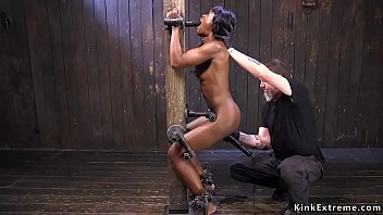 Ebony pussy vibed in strict bondage 5 min