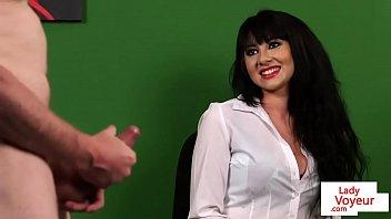 British CFNM voyeur enjoys JOI in the office
