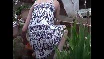 Neighbour voyeur downblouse in garden