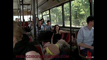 Bondage blonde anal fucked in public bus full of strangers 15 min