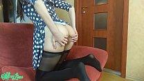Solo female masturbation in dress and pantyhose 10 min