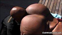 Horny ebony whore goes crazy sucking 5 min