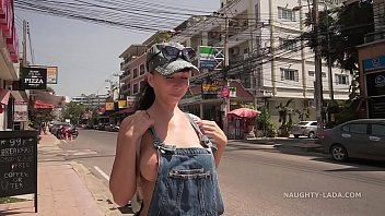 The denim overalls with no top in public 63 sec