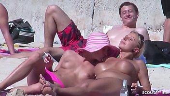 German Lesbian - Echte Lesben am Strand vom Ballerman 6 erwischt und gefilmt 21 min