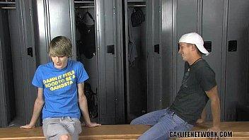 Classmates doing IT in the locker room