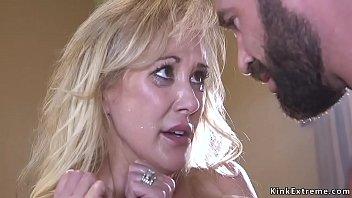Huge tits blonde Milf banged by her fan