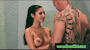 Sexy masseuse Gianna Dior giving soapy hangjob