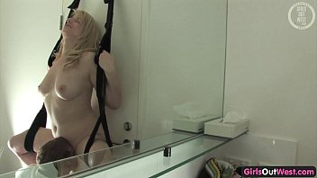 Cock hungry Aussie blonde fucked in a sling 7 min