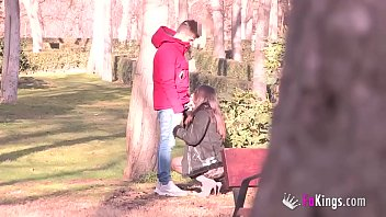 Lucia Nieto is back in FAKings to suck stranger's dicks right in the public park