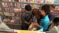 Japanese babe, Yukina Aizawa got m. by horny guys, uncensored