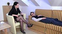 Femdom Ladies order slaves to smell their feet 15 min