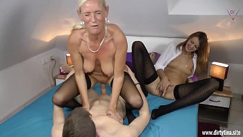 Two Milfs fucked hard with a young Student 13 min