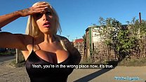 Public Agent Teasing dirty talking busty blonde begs for sperm