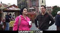 Picked up granny tourist rides stranger's cock