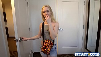 Slim amateur teenie fucks for cash at a fake casting