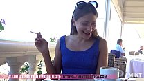 Talia Mint Tests Remote Controlled Toy In A Public Caffe