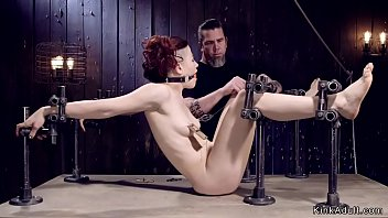 Redhead with gas mask tormented