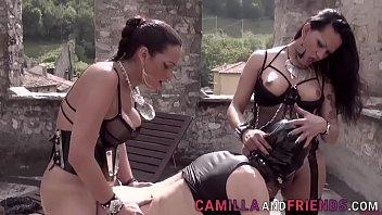 Two Lusty Trannies Fuck Their Sissy Slave