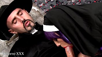 Nasty priest fucking catholic nun in the graveyard 21 min