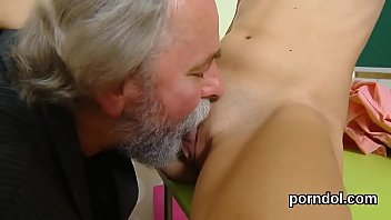 Cuddly schoolgirl gets teased and poked by senior instructor