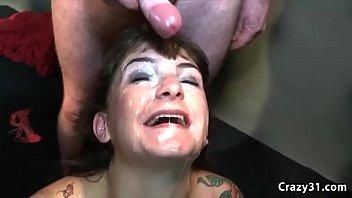 Mature slut receives massive cum shower 6 min