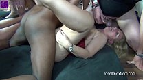 Two busty milfs get extremely inseminated and bareback fucked by 120 men! Part 3
