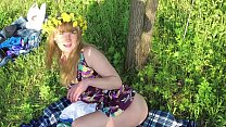 Amateur doggystyle and blowjob in the forest with a Russian slut. OUTDOOR