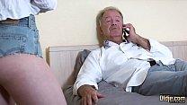 Teen blonde grabs grandpa's cock and sucks it deepthroat