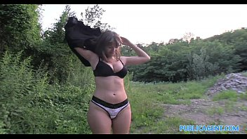 PublicAgent HD Brunette with big natural boobs fucking outside