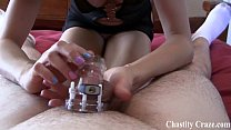 Locked in chastity by two hot bitches