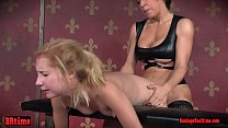 Bound bdsm teen is pussy fucked in trio