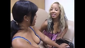 Hot babes enjoy giving a huge hard pole a nice blowie indoors